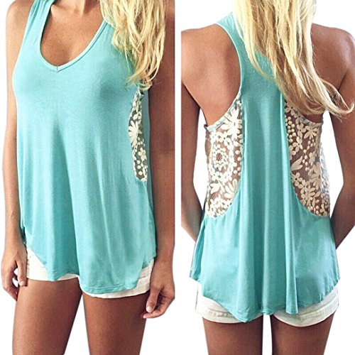 Mosunx Sexy Women Summer Lace Vest T Shirt Tees Casual Blouse Fashion Tank Tops (L, Green)