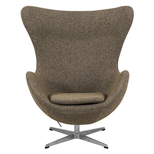 leisuremod modena mid century fabric accent egg chair with tilt lock mechanism oatmeal twill. Black Bedroom Furniture Sets. Home Design Ideas