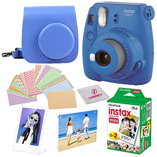 Fujifilm Instax Mini 9 instant Fuji Camera, COBALT BLUE + Camera Case + instant Mini 9 Film Twin Pack + instax Picture Frame + Magnet Frame + 20 Border Stickers Kit +FREE Cleaning cloth (Cobalt Blue)