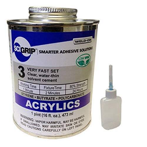 IPS Weld-On 3 Acrylic Plastic Cement, 1 Pint and Weld-On Applicator Bottle with Needle, Clear (1)