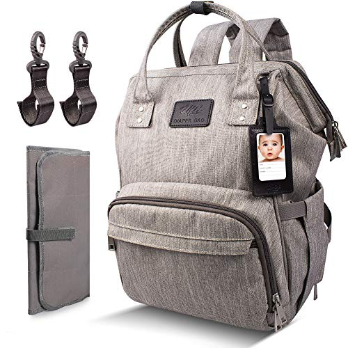 Qipi Diaper Bag - Spacious & Smart Multi-Function Nappy Bag with Built-in Changing Pad & Tissue Dispenser, The Ultimate Waterproof Baby Care Backpack for Moms & Dads - Graphite Gray