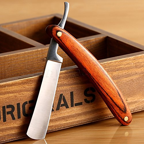 Straight Razor Shaving Razor with Stainless Steel Edge and Wood Handle