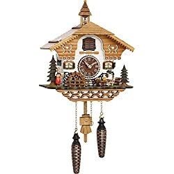 Quartz Cuckoo Clock Black Forest house with moving beer drinker and mill wheel, with music TU 4214 QM
