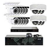 5MP (2592x1920p) 16 Channel 1920P NVR Network PoE IP Security Camera System - HD 1920p 2.8~12mm Varifocal Zoom (10) Bullet and (6) Dome IP Camera - 5 Megapixel (3,000,000 more pixels than 1080P)