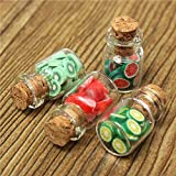 Tcplyn Doll House Glass Fruit Jar with Lid Handmade Accessories Fruit Slice with Canned Mini Food Accessory 1:12 Random Color 4pcs
