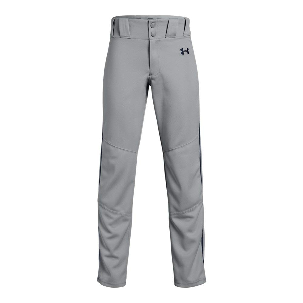 Under Armour Boys' Utility Relaxed Piped Baseball Pant, Gray (082)/Midnight Navy, Youth Small by Under Armour