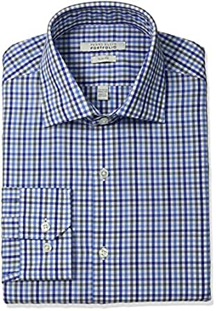 Perry ellis men 39 s slim fit wrinkle free multi tattersall for Wrinkle free dress shirts amazon