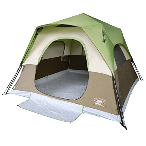 Timber Ridge 6 Person Camping Tent Instant Cabin With Rainfly for Outdoor