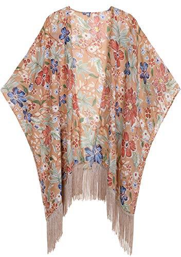 WEIYAN Women's Summer Tops Loose Chiffon Kimono Cardigan Beach Swim Cover up Blouse (Kfloral, Medium) - Cardigan Oversized Wrap