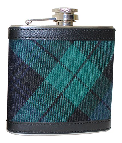 100% Scottish Tartan Wrapped 6oz Stainless Steel Captive Top Pocket Hip Flask - Blackwatch