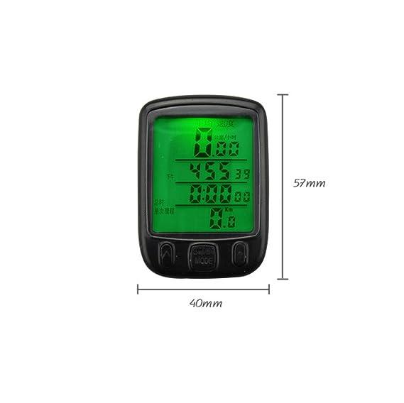 ... velocidad y distancia, resistente al agua, Encendido Automático, ordenador para bicicleta con gran pantalla LCD retroiluminación y sensor de movimiento, ...