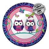 8-Count Round Paper Dessert Plates, Owl Pal