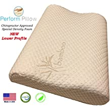Thin Profile Memory Foam Neck Pillow - Double Contour - Chiropractor Approved - Washable Soft Bamboo Cover - Great for Neck Pain, Sleeping (Thin Profile)