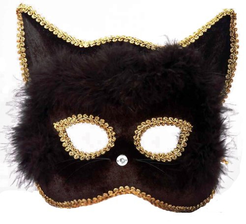 Forum Marabou Kitty Venetian Mask, Black/Gold, One Size -