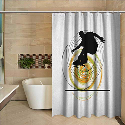 Lohebhuic Youth Precision Custom Shower Curtain Black Silhouette of a Skater Man on Hand Drawn Style Spiral Hobby Activity Modern Bathroom Decoration W48 x L70 Inch Orange Green Black