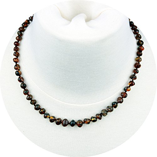Stones Baltic Amber Necklace - Baltic Amber Necklace for Adult (Unisex, Polished Green, 18 Inches) Lab-Tested, 100% Certified Baltic Amber - All Natural Pain Relief & Anti-Inflammatory For Migraine, Sinus, Arthritis & More!