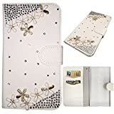 PU Leather Case for Sony Xperia M2 Aqua - Generic Luxury 3D Bling Crystal Rhinestone Flip Wallet Pouch Stand Cover with Card Slots + Stylus Pen(Flowers)