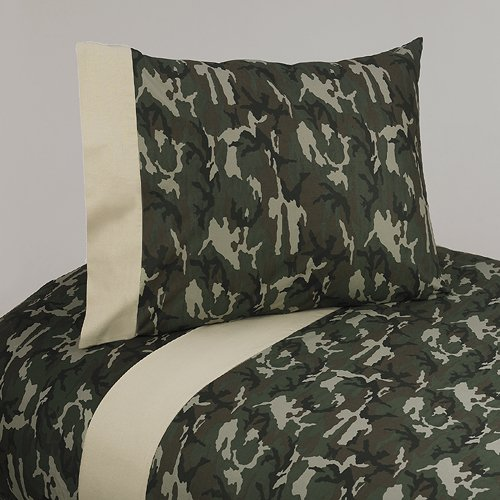 Sweet Jojo Designs 3-Piece Twin Sheet Set for Green Camo Bedding - Camouflage Collection Bedding