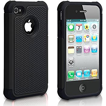 huge selection of acbbf 9078c iPhone 4 Case, iPhone 4S Case, CHTech Shockproof Durable Hybrid Dual Layer  Armor Defender Protective Case Cover for Apple iPhone 4S/4 (Black)