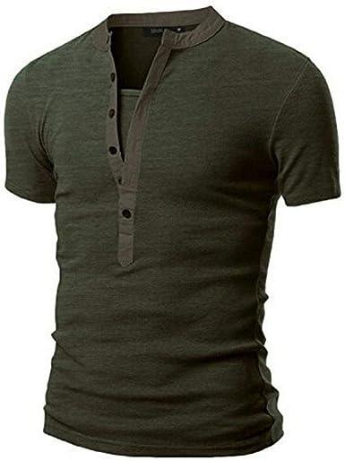 Polo De Los Hombres Camisa Básica Manga Unico De Corta Lisa Camisa De Verano con Cuello En V Patchwork Camiseta Camisa De Manga Corta De Algodón Rebeca Casual Polo Camisa De Goosun: