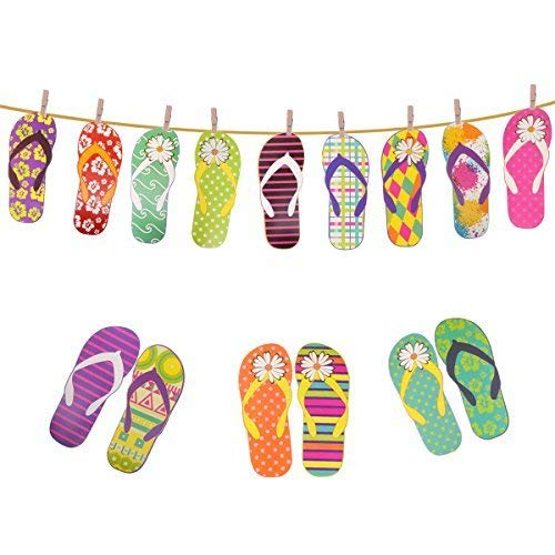 Hawaiian Luau Tropical Summer Banner Flip Flops Banner Garland Summer Parties Room Decoration ()