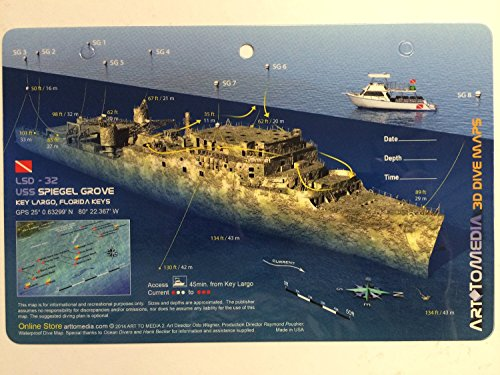 Price comparison product image New Art to Media Underwater Waterproof 3D Dive Site Map - Spiegel Groove in Key Largo, Florida (8.5 x 5.5 Inches) (21.6 x 15cm)