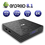 EVANPO Smart TV Box [4GB DRR3/32GB EMMC] Android 8.1 TV Player Quad-Core Cortex-A53 64 Bits Support 2.4G WiFi 4K 3D USB 3.0 BT4.1 HDMI H.265