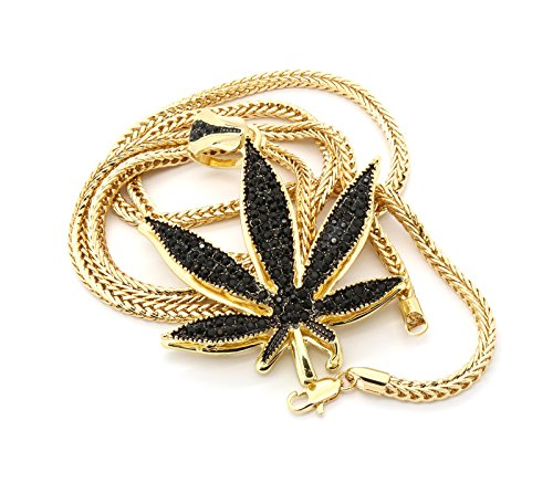 Mens Gold Tone with Black Stones Large Marijuana Pendant with 30