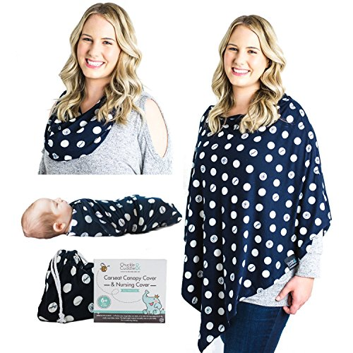 Jersey Money Pouch - Breastfeeding Nursing Cover Scarf - Rayon/Spandex Jersey Knit Super Soft Stretchy Breathable Lightweight Nursing Poncho, Carseat Canopy & Baby Car Seat Cover. FREE Matching Pouch By Chuckle & Cuddle
