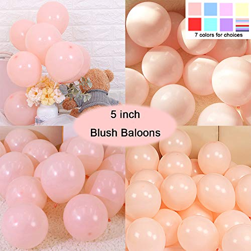 Party Pastel Balloons 200 pcs 5 inch Macaron Candy Colored Latex Balloons for Birthday Wedding Engagement Anniversary Christmas Festival Picnic or any Friends & Family Party Decorations-blush balloons (Giant Blush Balloons)