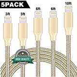 Youer Phone Cable 5Pack 3FT 3FT 6FT 6FT 10FT Nylon Braided USB Charging & Syncing Cord Compatible with Phone X Phone 8 8 Plus 7 7 Plus 6s 6s Plus 6 6 Plus Pad Pod Nano - Gold