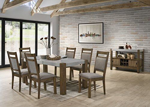 Roundhill Furniture D725-7PC-S725 Collection Costabella 8 PC Dining Set, Table with 6 Chairs and Server