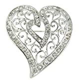 Arabesque Love Swirls Silver Heart Rhinestone Brooch Pin with Clear Crystals