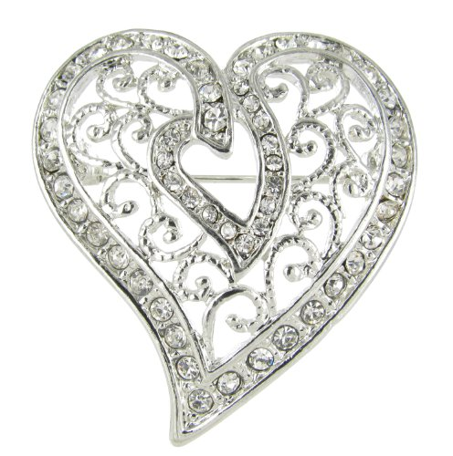 Arabesque Love Swirls Silver Heart Rhinestone Brooch Pin with Clear Crystals (Rhinestone Heart Pin)