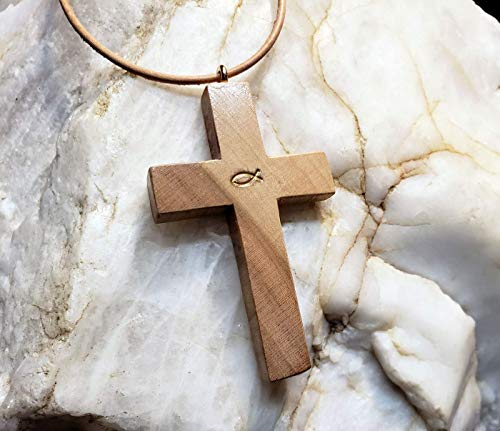 One-of-a-Kind: Two-Tone Cherry Wood Cross & Adjustable Leather Necklace/Choker for Women and Men: Leaf Painted Christian/Jesus Fish and Gloss Finish. Handmade in the - Cross Wedding Tone Two