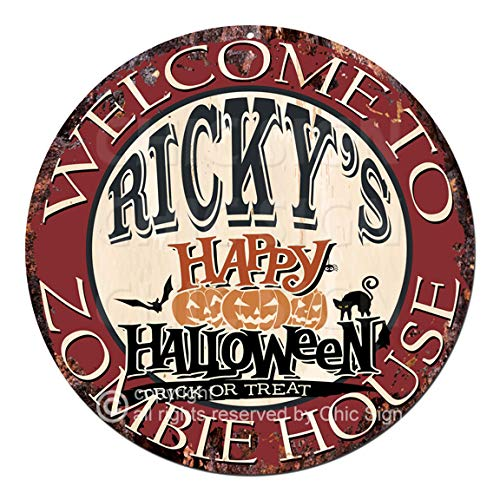 Welcome to The Ricky'S Happy Halloween Zombie House Chic Tin Sign Rustic Shabby Vintage Style Retro Kitchen Bar Pub Coffee Shop Man cave Decor Gift Ideas ()