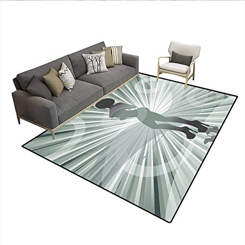 - Floor Mat,an Afro American Woman in High Heels Silhouette with Ray Background Pattern,Rugs for Bedroom,Black 6'x7'