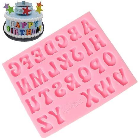 YUnnuopromi - Molde de silicona para fondant, diseño de letras del alfabeto rosa