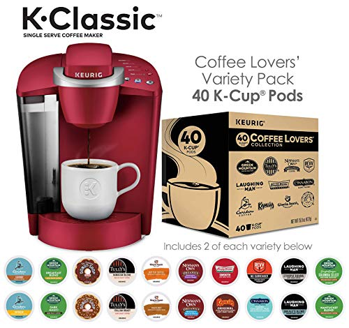 Keurig K-Classic Coffee Maker with Coffee Lover's 40 ct K-Cup Pods Variety Pack, Rhubarb