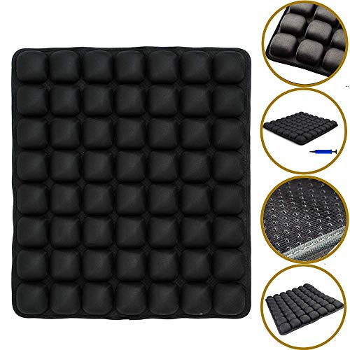 SUNFICON Air Seat Cushion Inflatable Comfort Cushion Portable Car Seat Office Chair Wheelchair Pad Anti Bedsore Orthopedics Pain Pressure Relief Cushion Camping Seat Mat w Pump 18