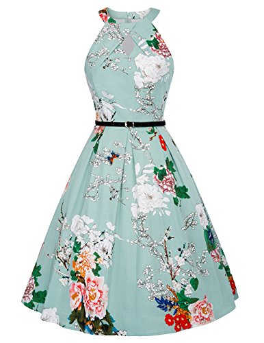 Belle Poque 1950s Vintage Halter A-Line Floral Dress with Belt XL BP480-1 -