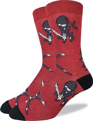 Good Luck Sock Mens Ninja Crew Socks - Red, Adult Shoe Size 7-12