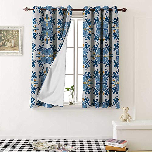 shenglv European Decorative Curtains for Living Room Roman Tile and Mosaic Design with Famous Artful Eastern Inspired Image Print Curtains Kids Room W72 x L72 Inch Blue Yellow