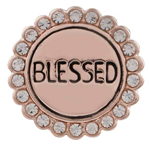 Rose Gold Clear Rhinestone Religious Blessed 20mm Snap Charm for Ginger Snaps