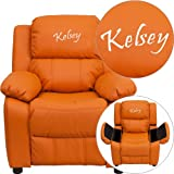 Flash BT-7985-KID-ORANGE-EMB-GG Emb Orange Vinyl Kids Recliner Solid Hardwood Frame