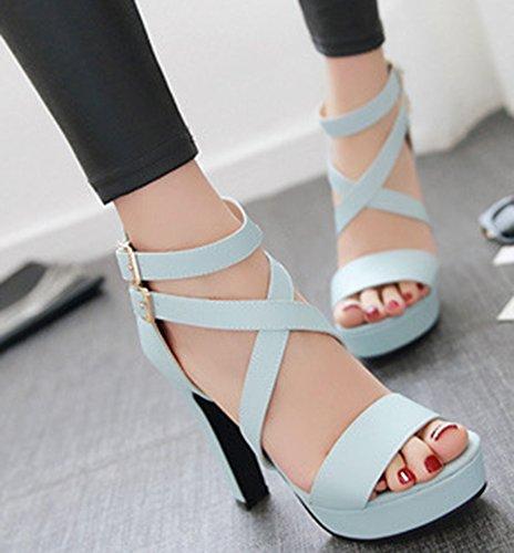 Bout Femme Sandales Talon Bloc Mode Bleu Aisun Ouvert BnaRWCq