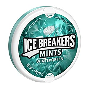 ICE BREAKERS Mints, Wintergreen, Sugar Free, 1.5 Ounce Container (Count of 8)