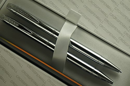 Cross Slim Classic Silhouette Polished Chrome Pen and 0.9mm Pencil Set in Pristine Cross Gift Box