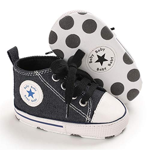 ENERCAKE Baby Shoes Boys Girls Toddler High-Top Ankle Canvas Sneakers Soft Sole Newborn Infant First Walkers Crib Shoes
