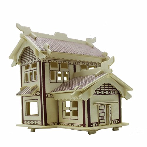 3D Jigsaw Puzzle Wooden Stereo Board Assembly Model Children's Educational Toys as Gifts Chinese-Ancient-Academies